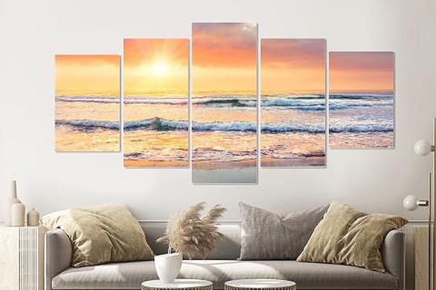 Schilderij -Zonsondergang op het strand, 5 luik, 200x100cm, Premium print