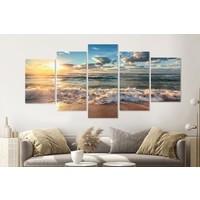 Karo-art Schilderij -Zonsondergang op het strand II,   5 luik, 200x100cm, Premium print