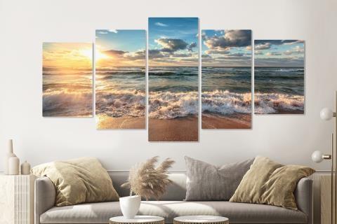 Schilderij -Zonsondergang op het strand II, 5 luik, 200x100cm, Premium print