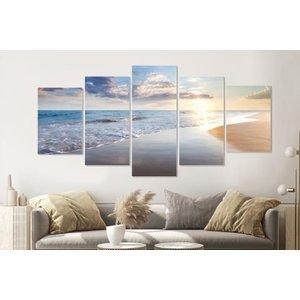 Karo-art Schilderij -Zonsondergang op het strand III,   5 luik, 200x100cm, Premium print