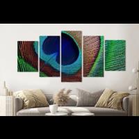 Karo-art Schilderij -Veren Pauw,   5 luik, 200x100cm, Premium print