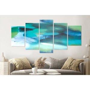 Karo-art Schilderij -Abstract blauw,   5 luik, 200x100cm, Premium print