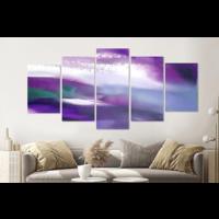 Karo-art Schilderij -Abstract Paars,   5 luik, 200x100cm, Premium print