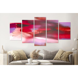 Karo-art Schilderij -Abstract Rood,   5 luik, 200x100cm, Premium print