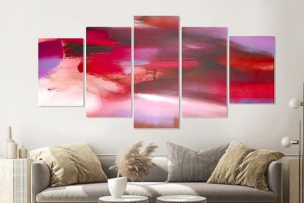 Schilderij -Abstract Rood, 5 luik, 200x100cm, Premium print