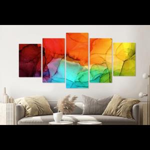 Karo-art Schilderij -Gekleurde inktvlekken,   5 luik, 200x100cm, Premium print