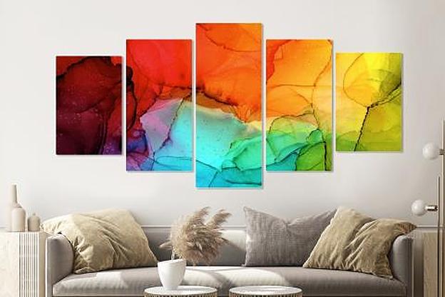 Schilderij -Gekleurde inktvlekken, 5 luik, 200x100cm, Premium print