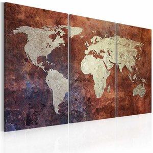 Schilderij - Wereldkaart - Roestige kaart van de Wereld, Roestige Look, 3luik , premium print op canvas , 90x60cm