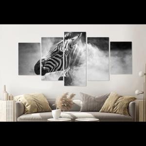 Karo-art Schilderij -Zebra in het stof,  5 luik, 200x100cm, premium print