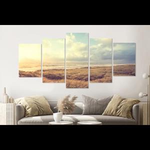 Karo-art Schilderij -Dromerig Strand, Noordzee,  5 luik, 200x100cm, premium print