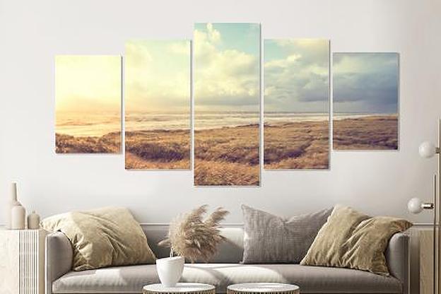 Schilderij -Dromerig Strand, Noordzee, 5 luik, 200x100cm, premium print