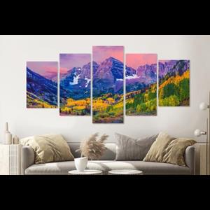 Karo-art Schilderij -Kleurrijk Aspen, USA,  5 luik, 200x100cm, premium print