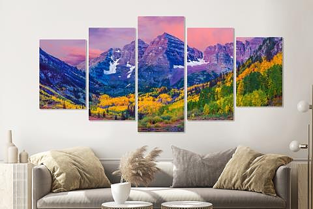 Schilderij -Kleurrijk Aspen, USA, 5 luik, 200x100cm, premium print