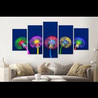 Karo-art Schilderij -Kleurrijke Paardenbloemen,  5 luik, 200x100cm, premium print