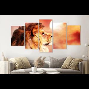 Karo-art Schilderij -Leeuw oranje/Rood,  5 luik, 200x100cm, premium print