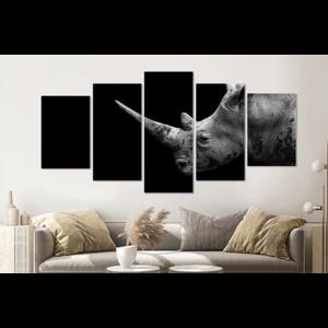 Karo-art Schilderij -Neushoorn in zwart/wit,  5 luik, 200x100cm, premium print