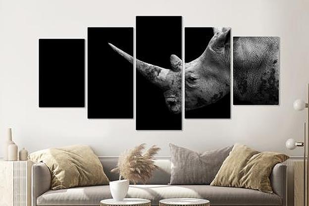 Schilderij -Neushoorn in zwart/wit, 5 luik, 200x100cm, premium print