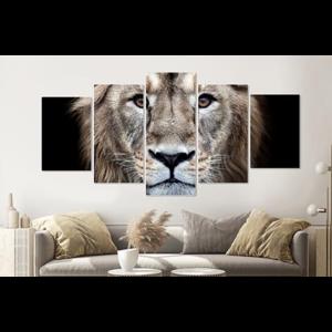 Karo-art Schilderij -Nieuwsgierige Leeuw,  5 luik, 200x100cm, premium print