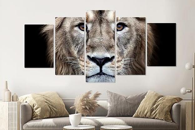 Schilderij -Nieuwsgierige Leeuw, 5 luik, 200x100cm, premium print