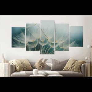 Karo-art Schilderij -Paardenbloemen zaadjes,  5 luik, 200x100cm, premium print