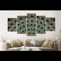 Karo-art Schilderij -Pauw Veren,  5 luik, 200x100cm, premium print