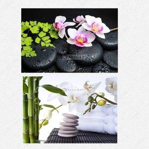 Schilderij -  Orchidee, zen stenen en bamboe en Zen stenen met orchidee, 90x60cm.  2 stuks voor de prijs van 1