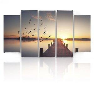 Schilderij , Steiger ,Meer en Vogels , Multikleur ,5 luik , wanddecoratie , Premium print , XXL, 100x150cm