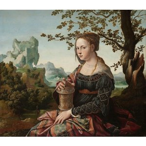 Karo-art Schilderij - Jan van Scorel, Maria Magdalena, ca 1530,   100x90cm