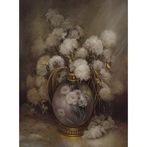 Karo-art Schilderij -Katoenbollen in Vaas, stilleven,  70x100cm, Premium print