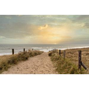 Karo-art Schilderij -Zonsondergang Noordzee,  100x60cm, Premium print