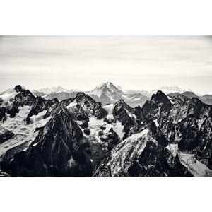 Karo-art Schilderij -Zwart witte Bergtoppen, Zwitserse Alpen, 90x60cm