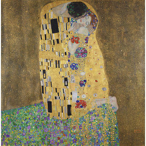 Karo-art Schilderij - Gustav Klimt, De Kus, liefdespaar, 3 maten, reproductie