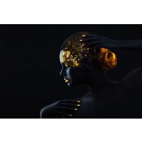 Karo-art Schilderij -Vrouw in zwart en goud, 2 maten, wanddecoratie , premium print