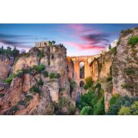 Karo-art Schilderij -Ronda, Spanje, Puente Nuevo-brug kopie, 2 maten, wanddecoratie , premium print
