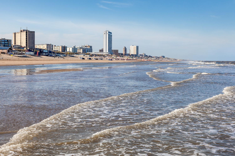 Schilderij -Strand van Zandvoort, Noordzee, 100x70cm. premium print, wanddecoratie