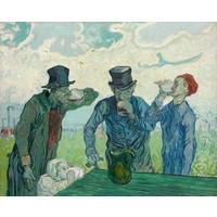 Karo-art Schilderij -Vincent van Gogh, The drinkers. 100x80cm. premium print, wanddecoratie