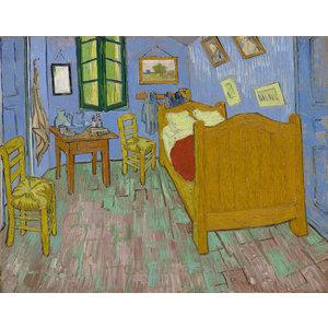 Karo-art Schilderij -Vincent van Gogh, De Slaapkamer. 100x80cm. premium print, wanddecoratie