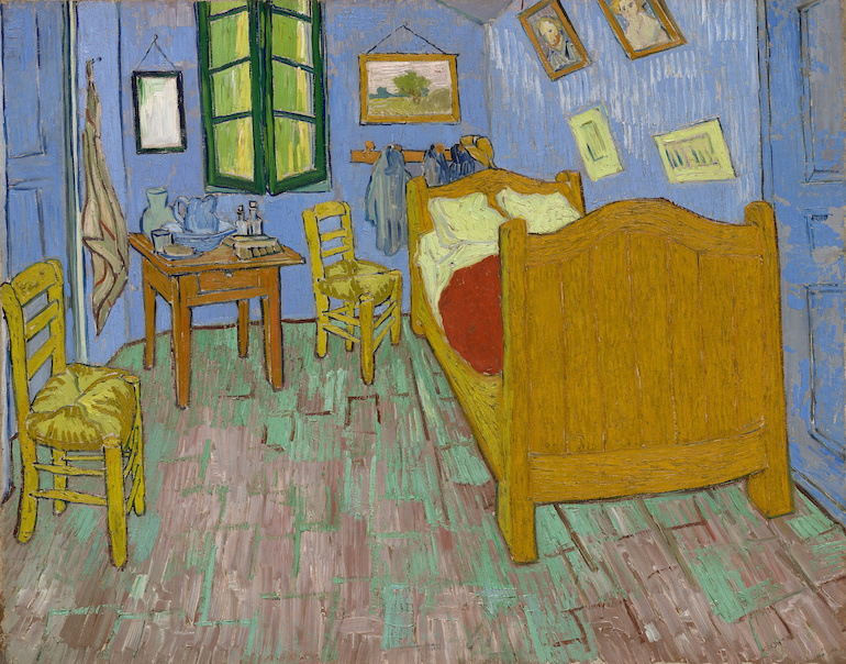 Schilderij -Vincent van Gogh, De Slaapkamer. 100x80cm. premium print, wanddecoratie