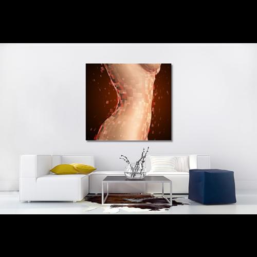Karo-art Schilderij -Vrouwelijk lichaam in blokken , 100x90cm. premium print, wanddecoratie