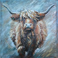 Schilderij - Metaalschilderij - Schotse Hooglander, Koe, 3D, 80x80cm