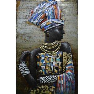 Schilderij - Metaalschilderij - Afrikaanse Vrouw, 3D, 80x120cm