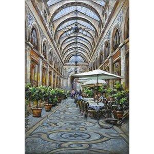Schilderij - Metaalschilderij - Overdekte Passage, Restaurant,  3D, 80x120cm