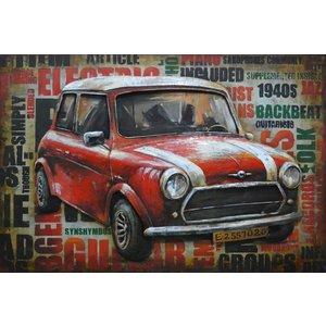 Schilderij - Metaalschilderij - Mini Cooper Vintage,  3D, 120x80cm