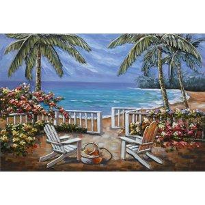 Schilderij -  Metaalschilderij -Het Paradijs, Strand, Palmbomen en Zee,  3D, 120x80cm