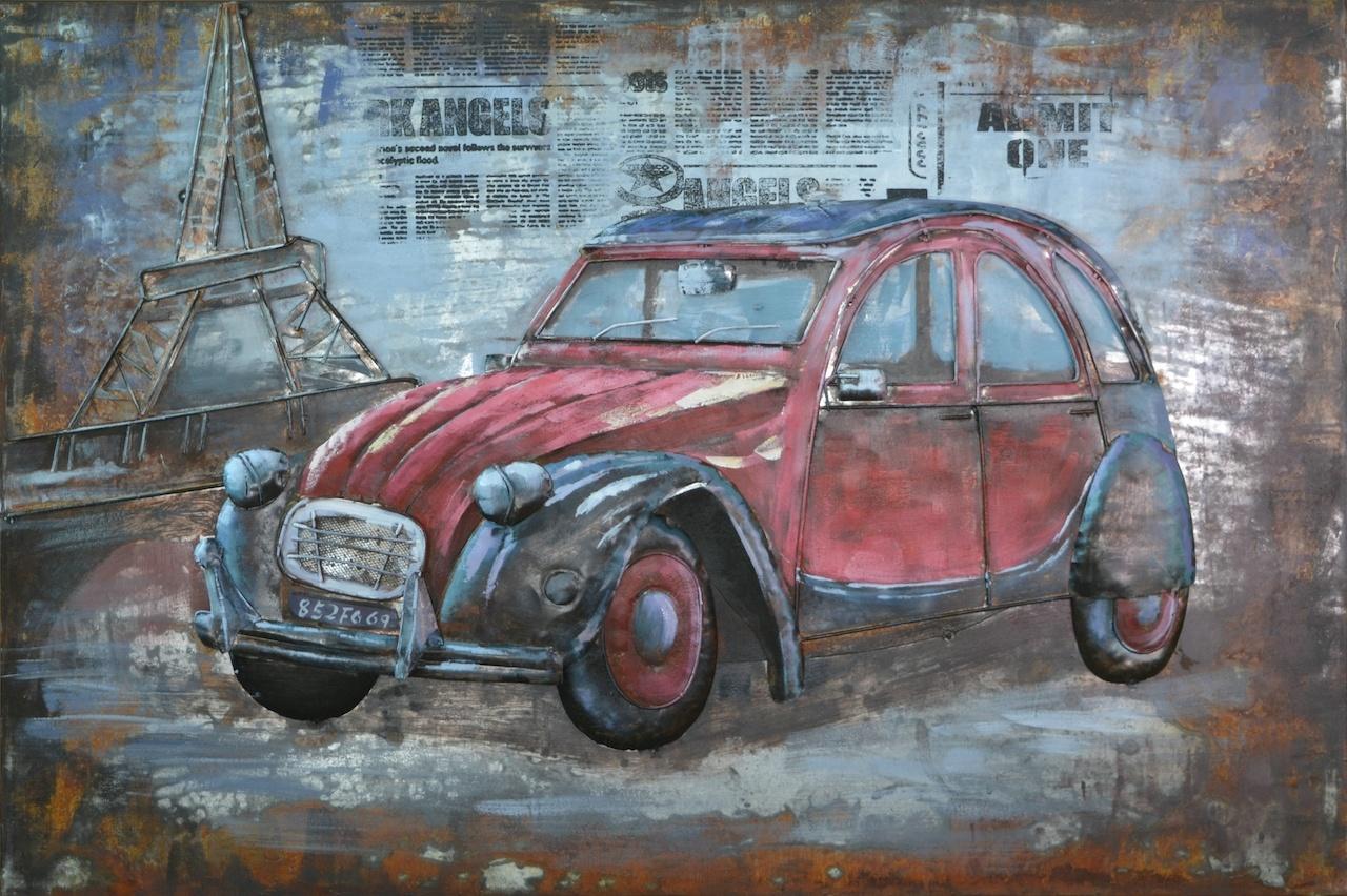 Schilderij - Metaalschilderij - Rode auto Citroën 2cv, Parijs - oldtimer120x80, 3D schilderij