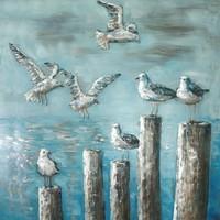 Schilderij -  Metaalschilderij -Zeemeeuwen, Zeezicht,100x100cm,  3D schilderij