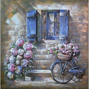Schilderij -  Metaalschilderij - Bloemen, Venster en Fiets, 100x100cm. 3D