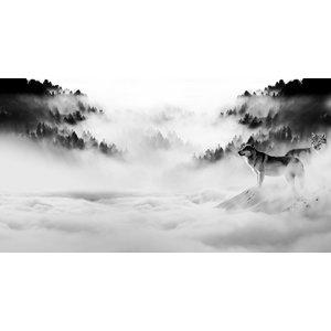 Karo-art Schilderij -Wolven in de mist, zwart/wit, 120x60cm. premium print