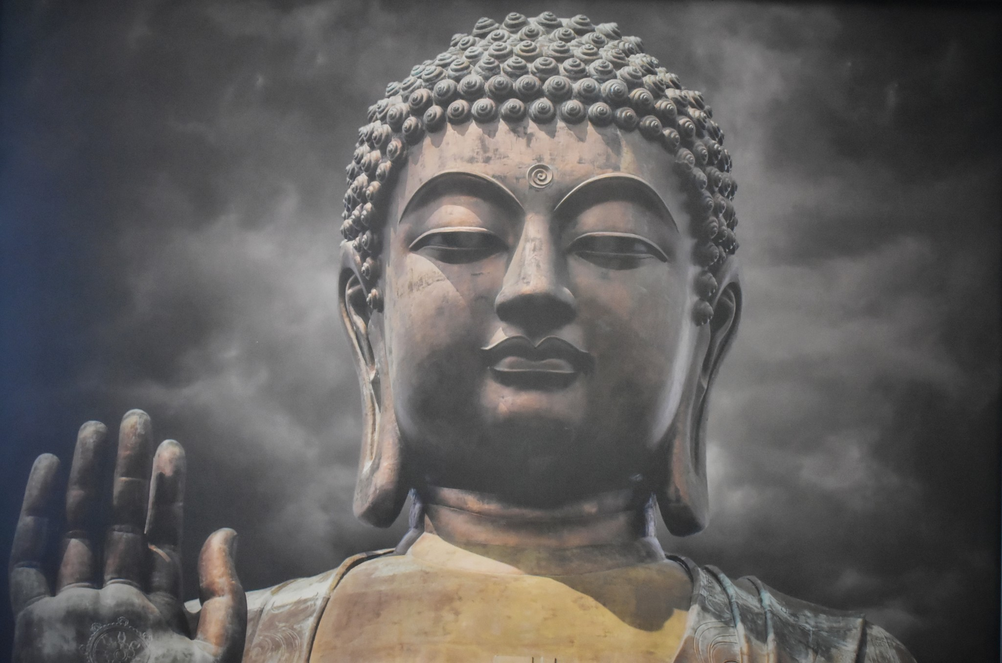Schilderij -Boeddha, de Verlichting, 100x70cm. premium print -  1 luik