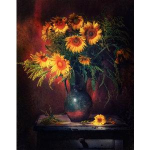 Karo-art Schilderij -Stilleven Zonnebloemen, 80x100cm. Wanddecoratie
